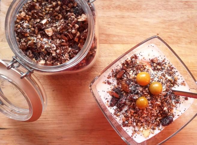 Knusperschokomüsli mit Buchweizen und Cranberries