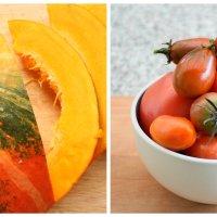 Kürbis-Grießnockerl mit Topfen auf Tomatenragout